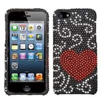 INSTEN Curve Heart Diamante Protector Phone Case for Apple iPhone 5/ 5S/ 5C/ SE