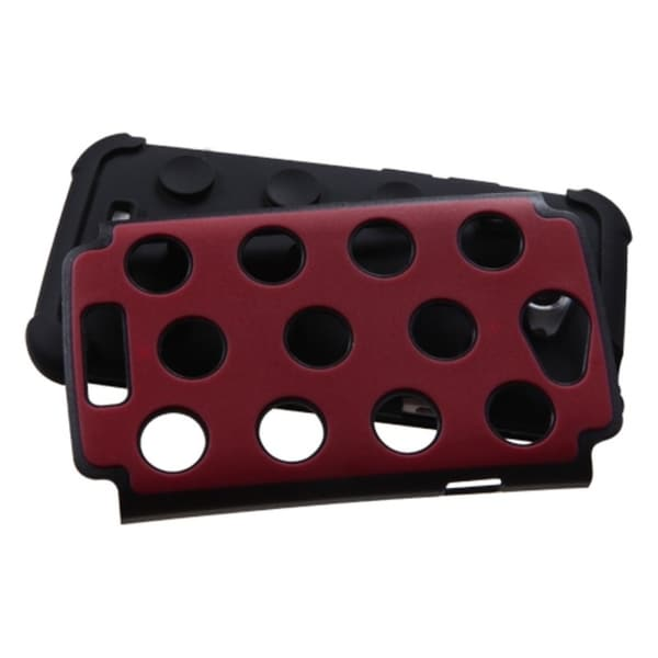 INSTEN Red/ Black Dots TotalDefense Phone Case Cover for HTC One X One/ X+