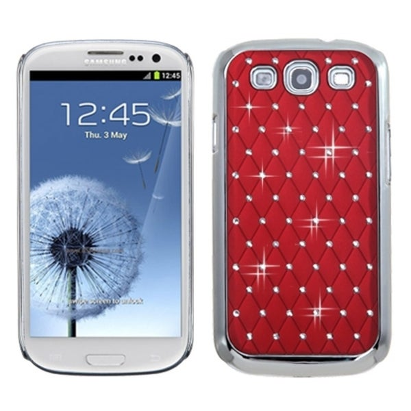 INSTEN Red/ Silver Diamond Back Phone Case Cover for Samsung Galaxy S III/ 3