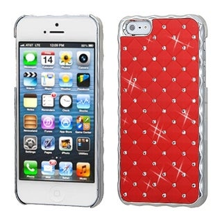INSTEN Red / Silver Dazzling Diamond Back Phone Case for Apple iPhone 5 / 5S / SE