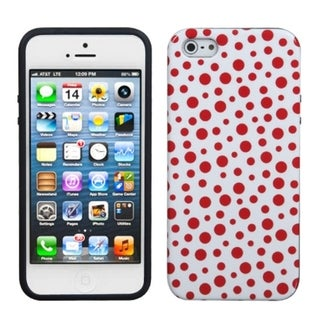 INSTEN Red Mixed Polka Dots Candy Skin Phone Case for Apple iPhone 5 / 5S / SE