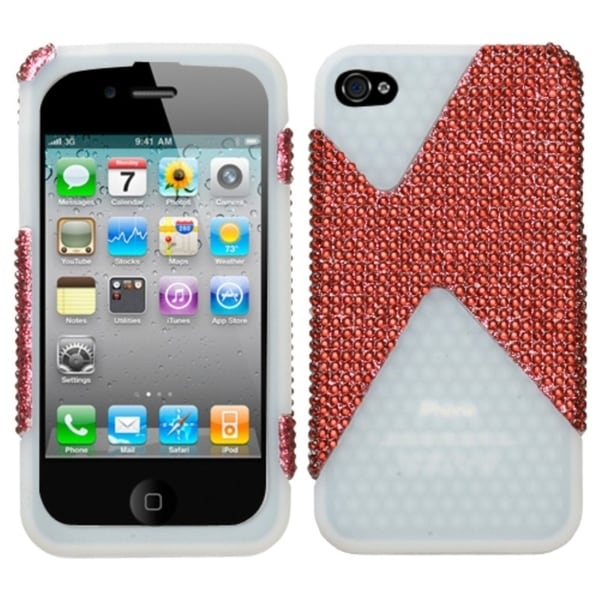 INSTEN Red Diamond/ T-Clear Diamond Dual Phone Case Cover for Apple iPhone 4S/ 4