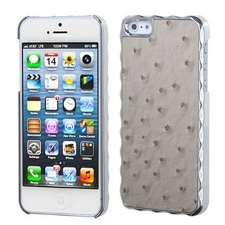 INSTEN Grey Silver Plating Ostrich Alloy Phone Case for Apple iPhone 5/ 5S/ SE