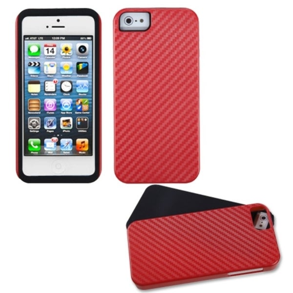 INSTEN Red Crosshatch Fusion Phone Case for Apple iPhone 5 / 5S / SE