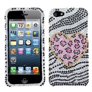 INSTEN Playful Leopard Diamante Protector Phone Case for Apple iPhone 5/ 5S/ 5C/ SE