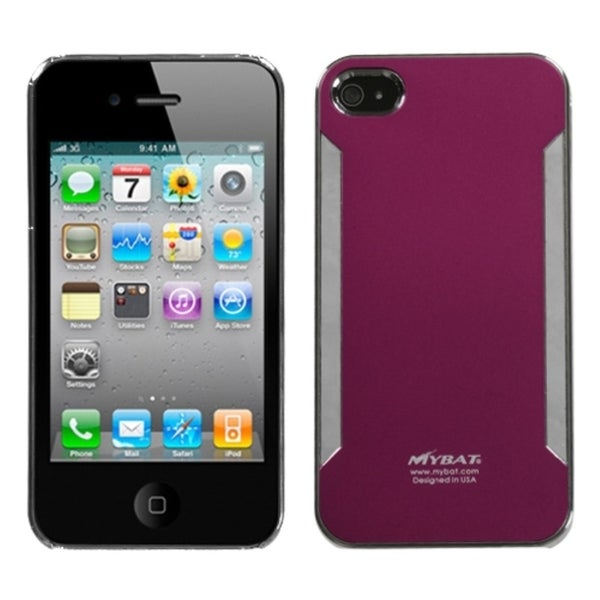 INSTEN Red Brushed Metal Lite Back Phone Case Cover for Apple iPhone 4S/ 4