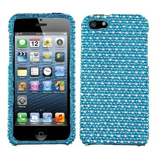 INSTEN Blue/ White Dots Diamante Protector Phone Case for Apple iPhone 5/ 5S/ 5C/ SE