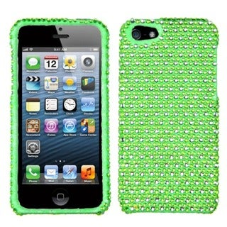 INSTEN Green/ White Dots Diamante Protector Phone Case for Apple iPhone 5/ 5S/ SE