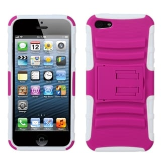 INSTEN Hot Pink/ Solid White Armor Stand Phone Case for Apple iPhone 5/ 5S/ SE