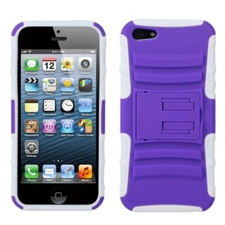 INSTEN Purple/ Solid White Armor Stand Phone Case for Apple iPhone 5/ 5S/ SE