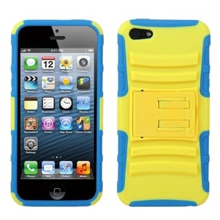 INSTEN Yellow/ Tropical Teal Armor Stand Phone Case for Apple iPhone 5/ 5S/ SE
