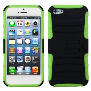 INSTEN Black/ Green Advanced Armor Stand Phone Case for Apple iPhone 5/ 5S/ SE