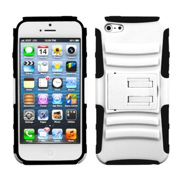 INSTEN White/ Black Advanced Armor Stand Phone Case for Apple iPhone 5/ 5S/ SE