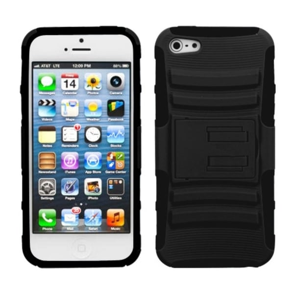 INSTEN Black Advanced Armor Stand Phone Case Cover for Apple iPhone 5