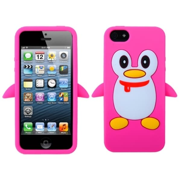 INSTEN Hot Pink Penguin Pastel Skin Phone Case Cover for Apple iPhone 5