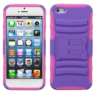 INSTEN Purple/ Electric Pink Armor Stand Phone Case for Apple iPhone 5/ 5S/ SE