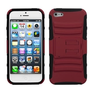 INSTEN Red/ Black Armor Stand Phone Case for Apple iPhone 5/ 5S/ SE