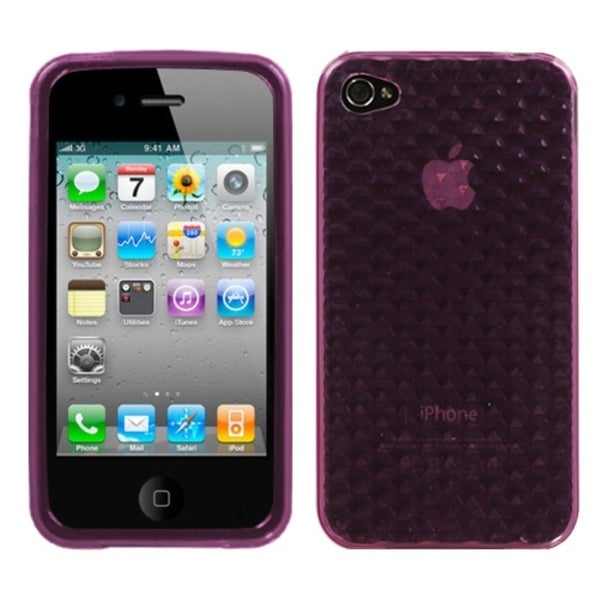 INSTEN Purple Cube Candy Skin Phone Case Cover for Apple iPhone 4S/ 4