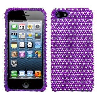 INSTEN Purple/ White Dots Diamante Protector Phone Case for Apple iPhone 5/ 5S/ SE