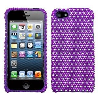 INSTEN Purple/ White Dots Diamante Protector Phone Case for Apple iPhone 5/ 5S/ SE