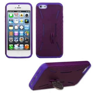 INSTEN Purple/ Electric Purple Quarter Stand Phone Case for Apple iPhone 5 / 5S / SE