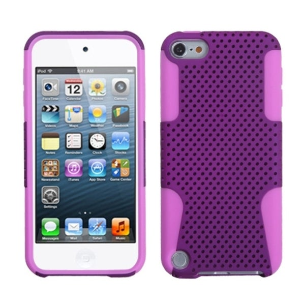 Insten Purple/ Pink Mesh Astronoot Hard PC/ Silicone Hybrid Rubberized Matte Case Cover For Apple iPod Touch 5th/ 6th Gen