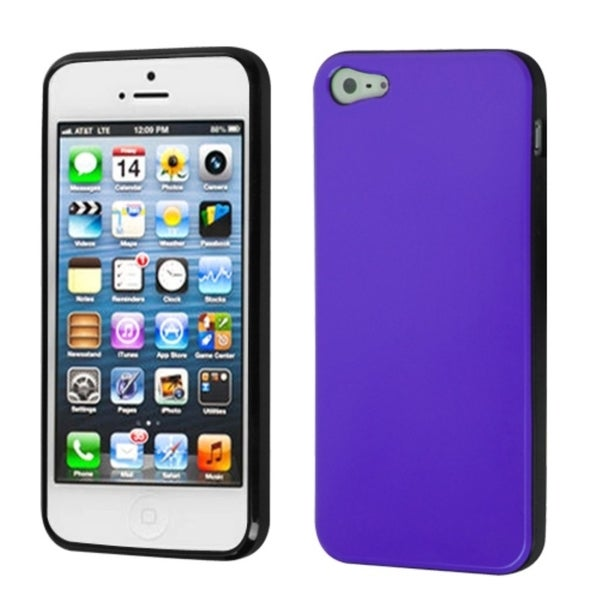 INSTEN Purple/ Black Candy Skin Phone Case for Apple iPhone 5 / 5S / SE
