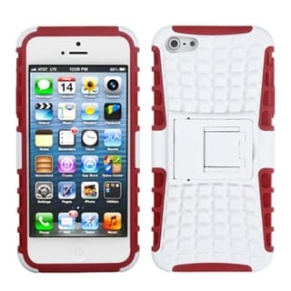 INSTEN White/ Red Rubber Armor Stand Phone Case for Apple iPhone 5/ 5S/ SE