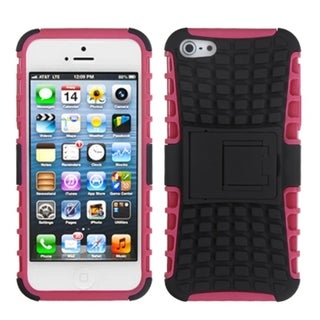 INSTEN Black/ Hot Pink Rubber Armor Stand Phone Case for Apple iPhone 5/ 5S/ SE