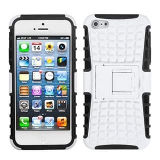 INSTEN White/ Black Rubber Armor Stand Phone Case for Apple iPhone 5/ 5S/ SE