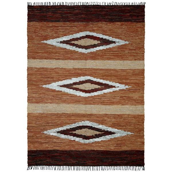 Hand-woven Matador Brown Leather Rug (10' x 14')