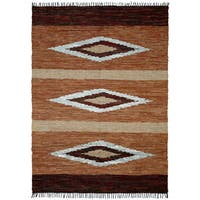 Hand-woven Matador Brown Leather Rug (10' x 14') - 10' x 14'
