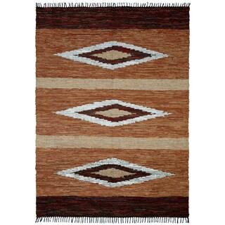 Hand-woven Matador Brown Leather Rug (10' x 14') - 10' x 14'