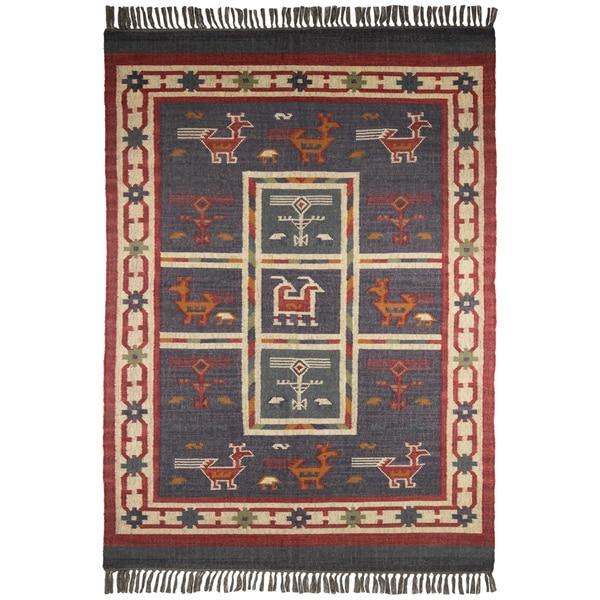 Shop Hand Woven Blue Tribal Print Wool And Jute Rug 10 X
