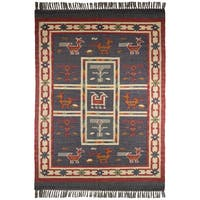 Hand-woven Blue Tribal Print Wool and Jute Rug (8' x 10') - 8' x 10'