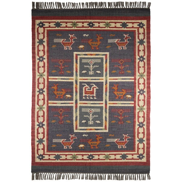 Hand Woven Blue Tribal Print Wool And Jute Rug (8u0027 X ...