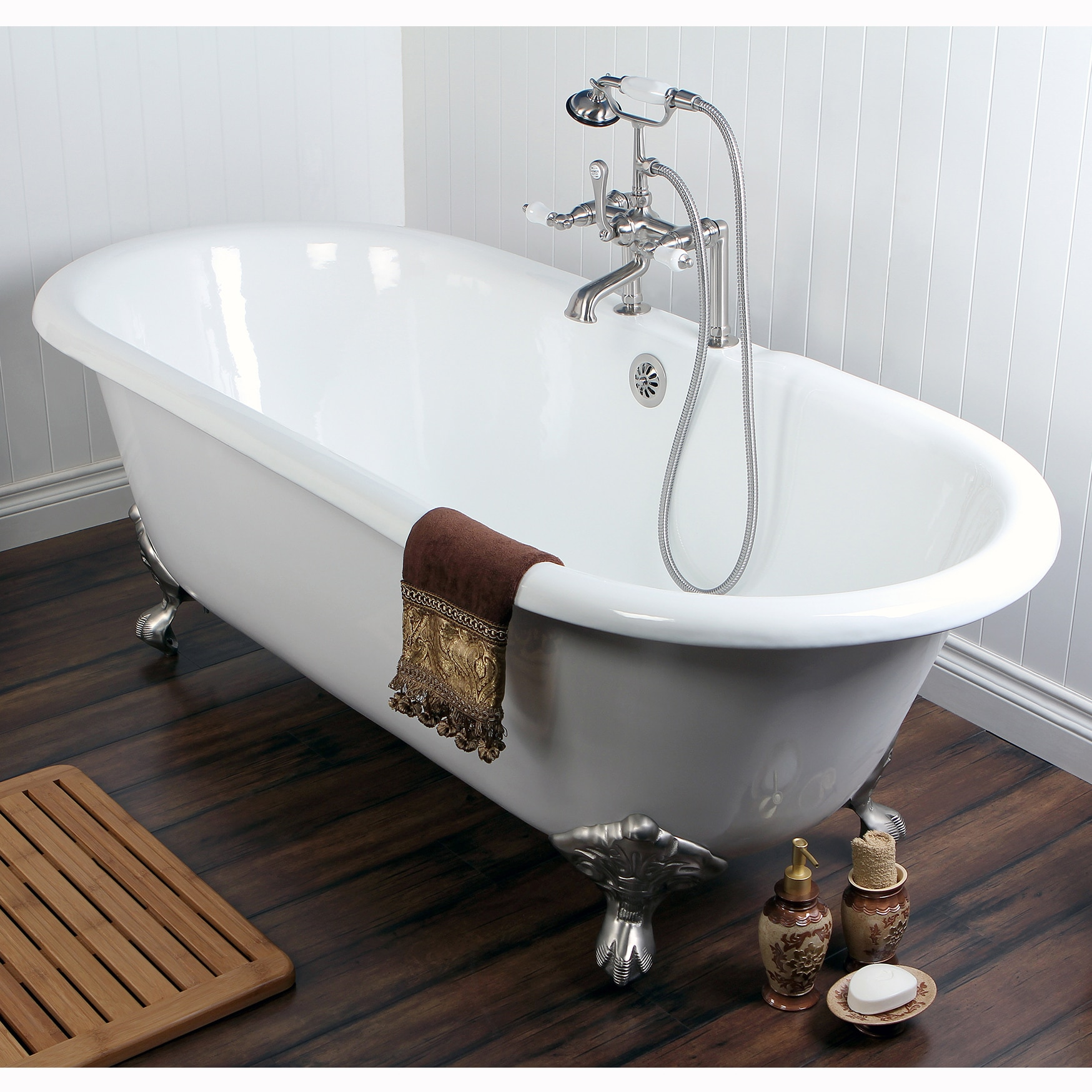 Double Ended Cast Iron 66 Inch Clawfoot Bathtub With 7 Drillings