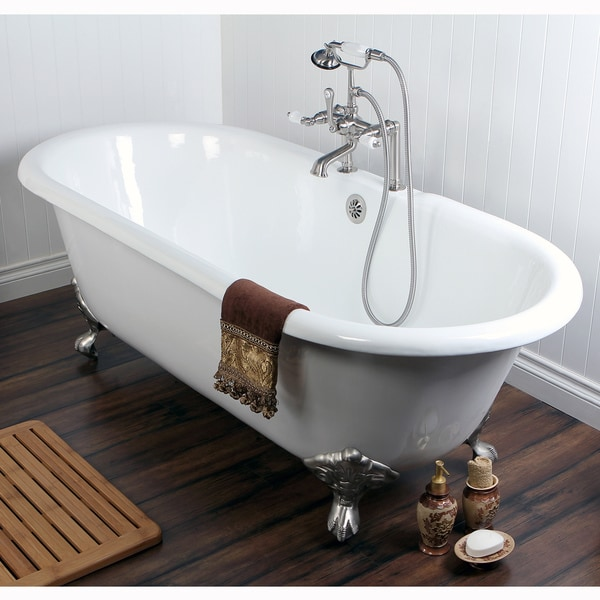 Double ended cast iron 66 inch clawfoot bathtub with 7 for Claw foot bath tub for sale