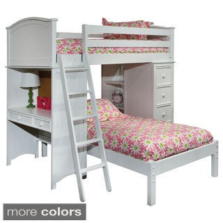 Cooley Twin Sleep/ Study/ Storage Loft Bed (Option: Cherry Finish)