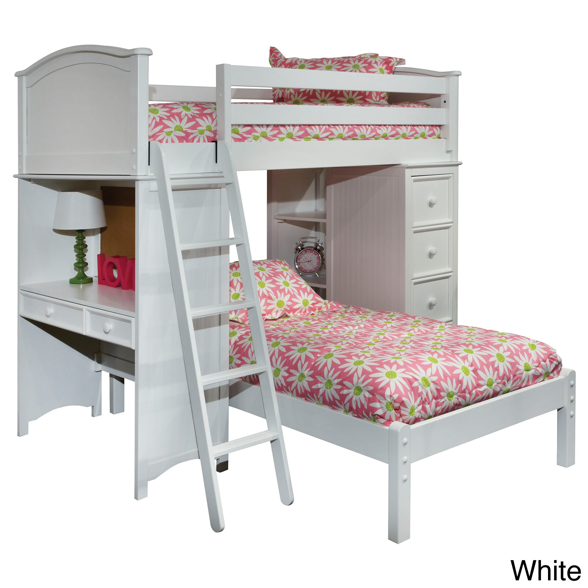 Bolton Cooley Twin Sleep/ Study/ Storage Loft Bed (White ...