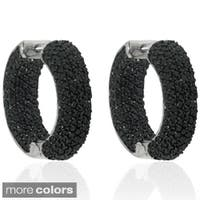 Dolce Giavonna Silverplated Black or White Cubic Zirconia 24.5mm Inside-out Hoop Earrings