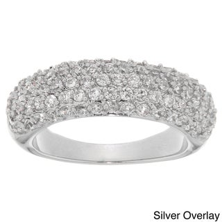 Dolce Giavonna Silverplated or Black Overlay White Cubic Zirconia Ring