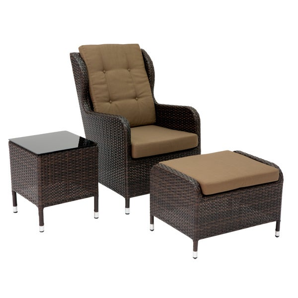 new styles 151c0 213f7 Abbyson Living Hampshire Patio Armchair Ottoman and Side Table 3-piece Set