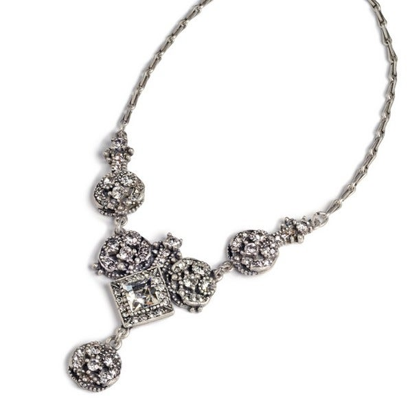 Sweet Romance Art Deco Diamond Harlequin Wedding Necklace