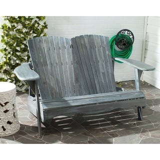 Safavieh Outdoor Living Hantom Adirondack Ash Grey Acacia Wood Bench