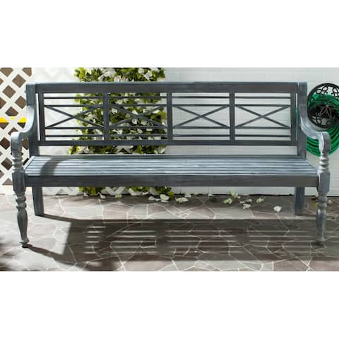 "Safavieh Outdoor Living Karoo Ash Grey Acacia Wood Bench - 70.1""x24.4""x34.3"""