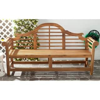 Safavieh Outdoor Living Khara Natural Acacia Wood Bench|https://ak1.ostkcdn.com/images/products/8083896/P15437269.jpg?impolicy=medium