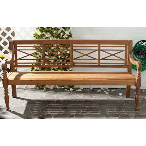 "Safavieh Outdoor Living Karoo Natural Acacia Wood Bench - 70.1"" x 24.4"" x 34.3"""