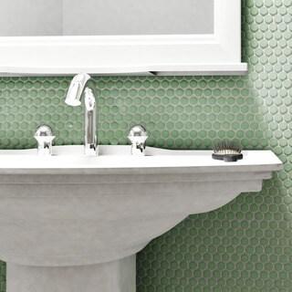 SomerTile 9.75x11.5-inch Victorian Penny Matte Light Green Porcelain Mosaic Floor and Wall Tile (10 tiles/8 sqft.)