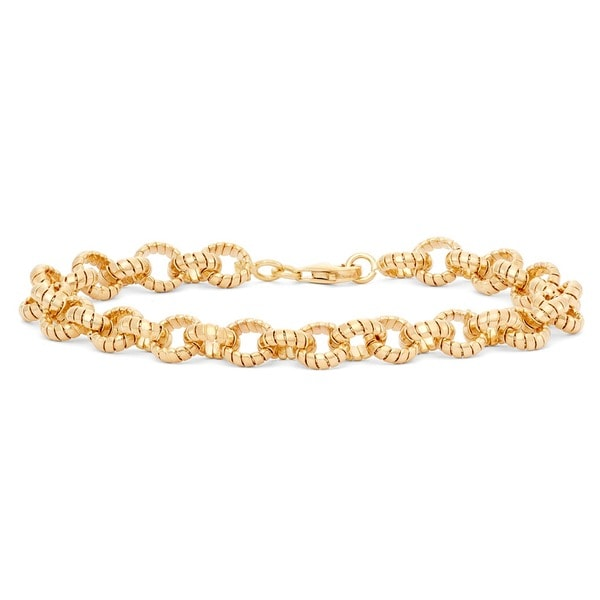 Gioelli 14k Yellow Gold Tubogas Twisted Round Link Bracelet